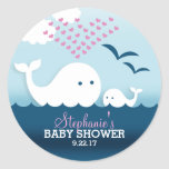 Whimsical Whales (girl) Baby Shower Classic Round Sticker