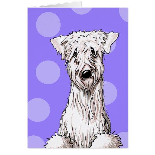 Whimsical Wheaten Purple Greeting Card