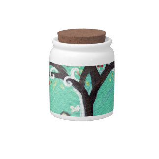 Whimsical Wheaten Terrier butterfly tree Candy Dish