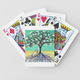 Whimsical Wheaten Terrier butterfly tree Bicycle Playing Cards