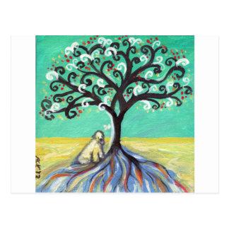 Whimsical Wheaten Terrier butterfly tree Postcard