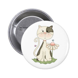 Whimsical White and Grey Kitty with Flower Button