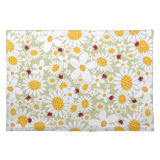 Whimsical White Daisies Flowers Red Ladybugs Cute Cloth Placemat