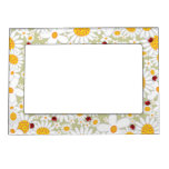 Whimsical White Daisies Flowers Red Ladybugs Cute  Frame Magnet
