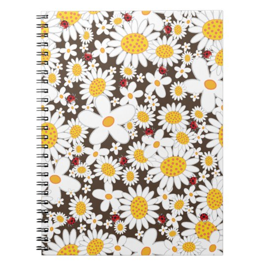 Whimsical White Daisies Ladybugs Flower Notebook