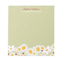 Whimsical White Daisies Ladybugs Flowers Notepad