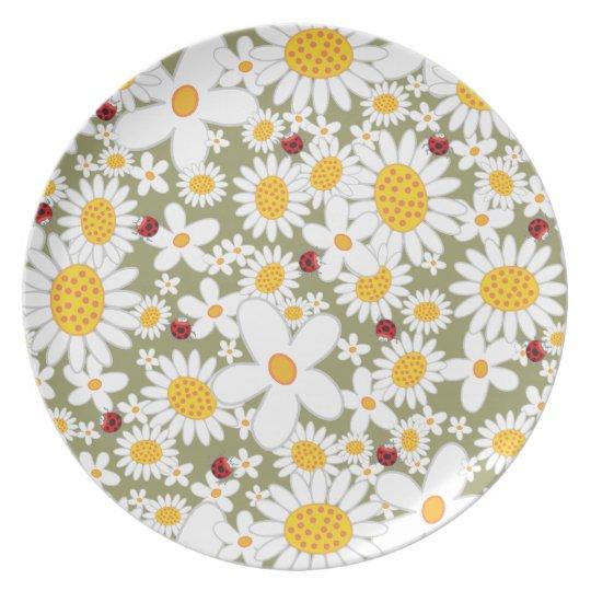 Whimsical White Daisies Ladybugs Garden Plate