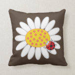 Whimsical White Daisies Red Ladybugs Spring Flower Throw Pillows