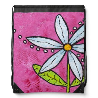 Whimsical White Daisy Flower Pink Backpack
