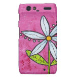Whimsical White Daisy Flower Pink Motorola Droid RAZR Case