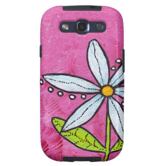 Whimsical White Daisy Flower Pink Samsung Galaxy S3 Cases