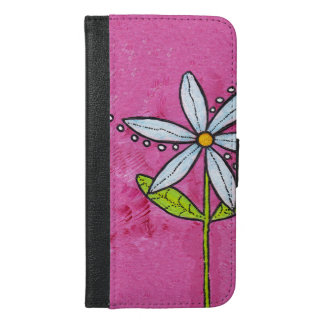 Whimsical White Daisy Flower Pink iPhone 6/6s Plus Wallet Case