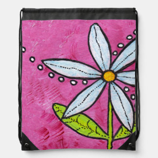 Whimsical White Daisy Flower Pink Backpack