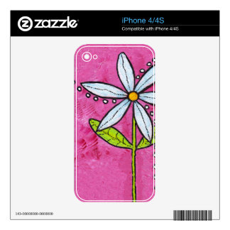 Whimsical White Daisy Flower Pink Skin For iPhone 4S
