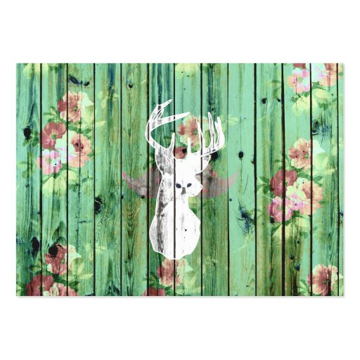 Whimsical White Deer Head Floral Pattern Wood Business Card