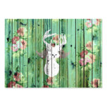 Whimsical White Deer Head Floral Pattern Wood Large Business Cards (Pack Of 100)