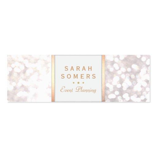 Whimsical White Glitter Bokeh Elegant Gold Frame Business Card