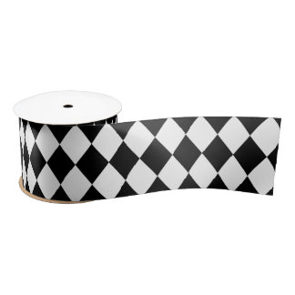Whimsical White Harlequin Diamond Pattern Satin Ribbon