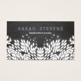 Whimsical White leaves Black Chalkboard Business Card