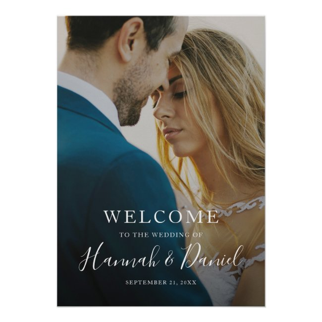 Whimsical White Modern Photo Wedding Welcome Poster