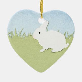 Whimsical White Rabbit Ceramic Ornament