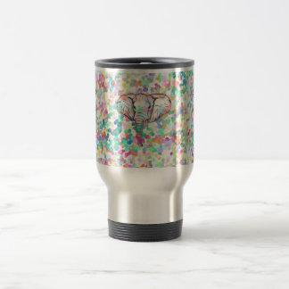 Whimsical Wild Elephant Sketch Pastel Polka Dots Travel Mug