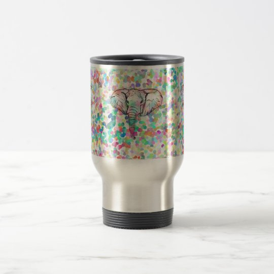 Whimsical Wild Elephant Sketch Pastel Polka Dots Travel Mug
