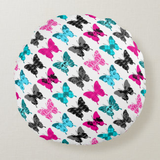 Whimsical Wings: Berries and Blues Round Pillow