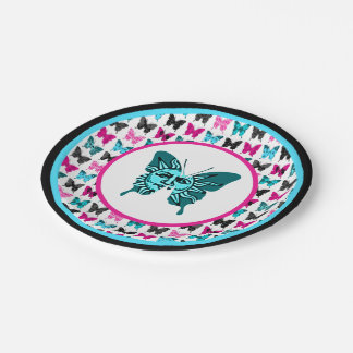 Whimsical Wings: Celestial Blues 7 Inch Paper Plate