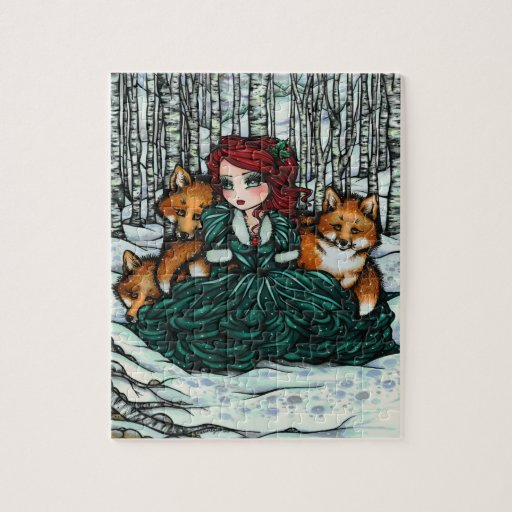 Whimsical Winter Fox Forest Christmas Fantasy Art Puzzle