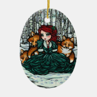 Whimsical Winter Foxes Forest Art by Hannah Lynn Ceramic Ornament