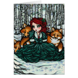 Whimsical Winter Foxes Forest Fantasy Art Card