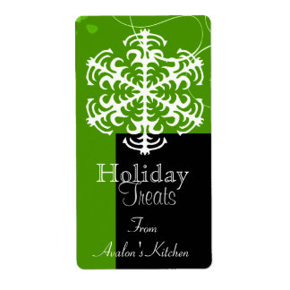 Whimsical Winter Lime Holiday Baking Label Shipping Label