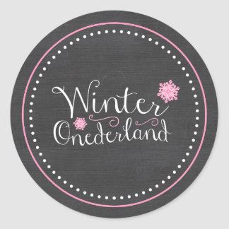 Whimsical Winter Onederland 1st Birthday Classic Round Sticker