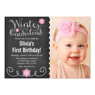 Whimsical Winter Onederland Photo First Birthday 4.5x6.25 Paper Invitation Card