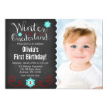 Whimsical Winter Onederland Photo Red Birthday 5x7 Paper Invitation Card