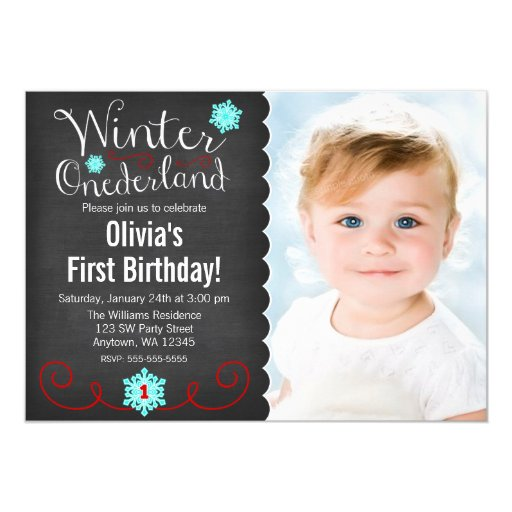 Whimsical Winter Onederland Photo Red Birthday Customized Invitation Cards