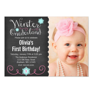 Whimsical Winter Onederland Photo Teal Birthday Card