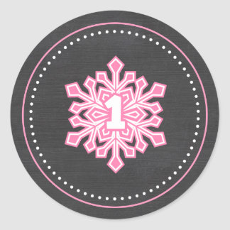 Whimsical Winter Onederland Snowflake 1st Birthday Classic Round Sticker