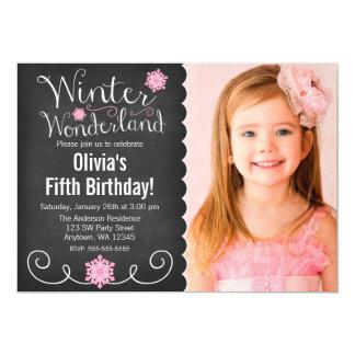 Whimsical Winter Wonderland Pink Photo Birthday Card
