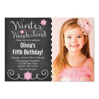 "Whimsical Winter Wonderland Pink Photo Birthday 5"" X 7"" Invitation Card"