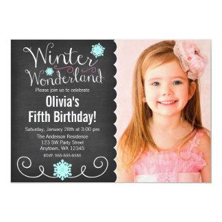 Whimsical Winter Wonderland Teal Photo Birthday 5x7 Paper Invitation Card