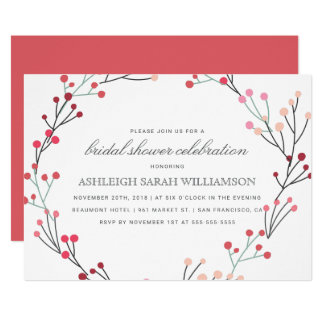 Whimsical Winter Wreath Bridal Shower Card