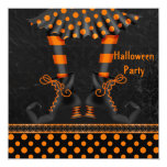 Whimsical Witch Legs Halloween Party Invitation