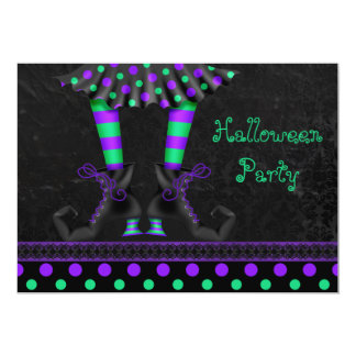 Whimsical Witch Legs Halloween Party 5x7 Paper Invitation Card