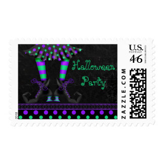 Whimsical Witch Legs Halloween Party Postage Stamp