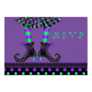 Whimsical Witch Legs Halloween Party RSVP Card