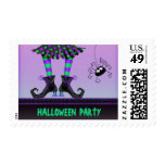 Whimsical Witch Legs & Spider Halloween Party Postage Stamp