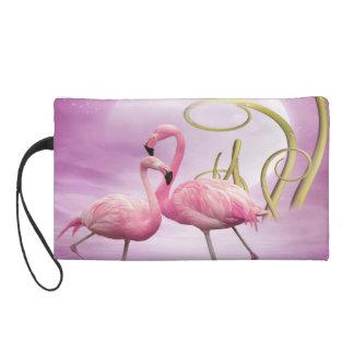 Whimsical Wonderland Pink Flamingos Wristlet Purses