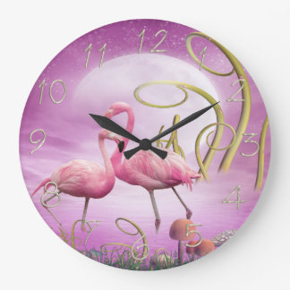 Whimsical Wonderland Pink Flamingos Clock